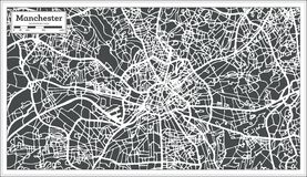 Manchester England City Map in Retro Style. Outline Map. Royalty Free Stock Image