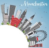 Manchester England City Skyline with Gray Buildings, Blue Sky an Stock Image
