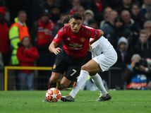 Manchester United v Paris Saint-Germain - UEFA Champions League Round of 16: First Leg. MANCHESTER, ENGLAND - FEBRUARY 12 2019: Alexis Sanchez of Manchester royalty free stock photo