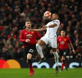 Manchester United v Paris Saint-Germain - UEFA Champions League Round of 16: First Leg. MANCHESTER, ENGLAND - FEBRUARY 12 2019: Luke Shaw of Manchester United royalty free stock images