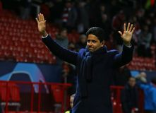 Manchester United v Paris Saint-Germain - UEFA Champions League Round of 16: First Leg. MANCHESTER, ENGLAND - FEBRUARY 12 2019: Nasser Al-Khelaifi president of stock photo