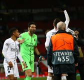 Manchester United v Paris Saint-Germain - UEFA Champions League Round of 16: First Leg. MANCHESTER, ENGLAND - FEBRUARY 12 2019: PSG players acknowledge their royalty free stock image