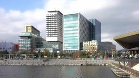 MediaCityUK. MANCHESTER, ENGLAND, 25TH OCTOBER 2017 : Panning shot of new BBC buildings at MediaCityUK in Salford stock footage