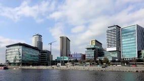 MediaCityUK Timelapse. MANCHESTER, ENGLAND, 25TH OCTOBER 2017 : Timelapse of new BBC buildings at MediaCityUK in Salford stock video