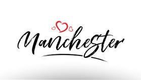 Manchester europe european city name love heart tourism logo ico Royalty Free Stock Photo