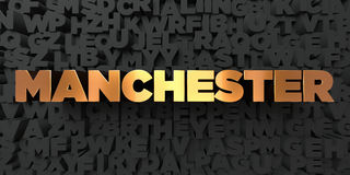 Manchester - Gold text on black background - 3D rendered royalty free stock picture Royalty Free Stock Images