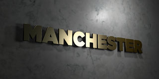 Manchester - Gold text on black background - 3D rendered royalty free stock picture Stock Photos