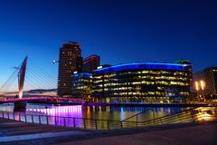 Manchester, Great Britain - Aug 08 2018 Media City at night.  royalty free stock photo