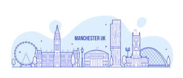 Manchester Greater England UK vector skyline line vector illustration