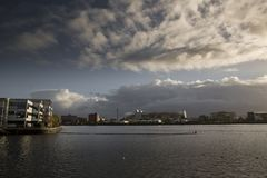 Manchester, Greater Manchester, UK, October 2013, view across the water to the Old Trafford Stadium