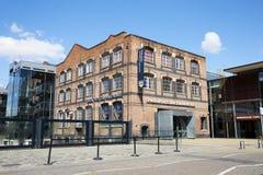 Manchester, Großbritannien - 4. Mai 2017: Äußeres von Manchester-Museum der Wissenschaft und der Industrie Lizenzfreie Stockbilder