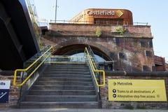Manchester, Großbritannien - 10. Mai 2017: Castlefield-Tram-Station im Metro-Netz Stockfoto