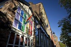 Manchester, Groter Manchester, het UK, Oktober 2013, Canal Street in het vrolijke dorp van Manchesters stock foto
