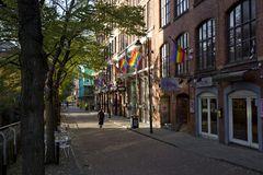 Manchester, Groter Manchester, het UK, Oktober 2013, Canal Street in het vrolijke dorp van Manchesters royalty-vrije stock afbeelding