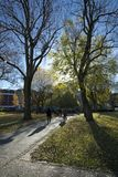 Manchester, Groter Manchester, het UK, Oktober 2013, mening van de bibliotheek van de Metropolitaanse Universiteit van Manchester royalty-vrije stock fotografie