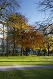 Manchester, Groter Manchester, het UK, Oktober 2013, mening van de bibliotheek van de Metropolitaanse Universiteit van Manchester stock foto's