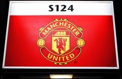 MANCHESTER, HET UK - 17 FEBRUARI: Raad boven de ingangspoort in Oud Trafford-stadion op 17 Februari, 2014 in Manchester, het UK Royalty-vrije Stock Fotografie