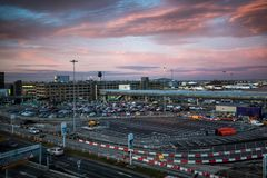 Manchester international Airport,. Sunrise in Manchester international Airport, Ringway, Manchester, England stock images