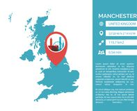 Manchester map infographic vector isolated illustration stock illustration