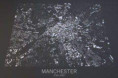 Manchester map, satellite view, United Kingdom Royalty Free Stock Image