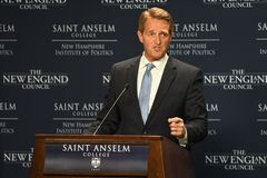 Manchester, N.H., USA, March 16, 2018. U.S. Sen. Jeff Flake, R-Ariz., criticizes President Donald Trump during a speech to The New Royalty Free Stock Photography