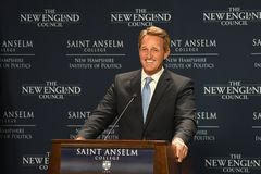 Manchester, N.H., USA, March 16, 2018. U.S. Sen. Jeff Flake, R-Ariz., criticizes President Donald Trump during a speech to The New Royalty Free Stock Photo