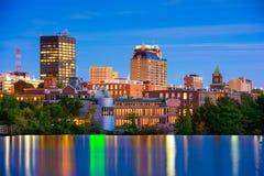 Manchester New Hampshire horisont arkivbilder