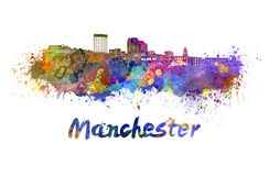 Manchester NH skyline in watercolor Royalty Free Stock Image