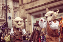 Manchester parade. People dressed as fairytale characters. Royalty Free Stock Images