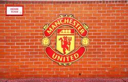 MANCHESTER, REGNO UNITO - 17 FEBBRAIO: Area del banco della squadra locale nel vecchio stadio di Trafford il 17 febbraio 2014 a M Fotografie Stock