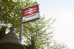 Manchester, Regno Unito - 10 maggio 2017: Esterno della stazione ferroviaria di Deansgate a Manchester Fotografie Stock