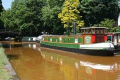Manchester, Reino Unido - 5 de junho de 2007: Narrowboat no canal do bridgewater o 5 de junho de 2007 em Manchester, Reino Unido fotografia de stock royalty free