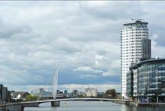 Manchester-Schiffskanal und Salford-Hafenviertel in Großbritannien Stockfotografie