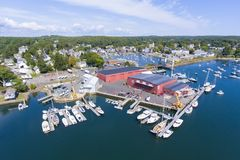 Manchester-by-the-sea, Cape Ann, Massachusetts, USA. Manchester Marine and harbor aerial view, Manchester by the sea, Cape Ann, Massachusetts, USA stock photos