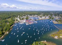 Manchester-by-the-sea, Cape Ann, Massachusetts, USA. Manchester Marine and harbor aerial view, Manchester by the sea, Cape Ann, Massachusetts, USA stock images
