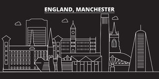 Manchester silhouette skyline. Great Britain - Manchester vector city, british linear architecture. Manchester travel stock illustration
