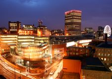 Manchester Skyline. Evening view of Manchester skyline, Uk Royalty Free Stock Photo