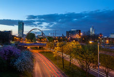 Manchester skyline. Beetham tower the tallest building in manchester and Hulme Arch bridge over princess road stock image