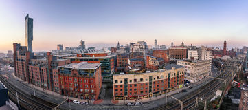 Manchester Skyline England. Panoramic view of Manchester city skyline from high up stock image