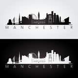Manchester skyline and landmarks silhouette Stock Images
