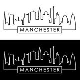 Manchester skyline. Linear style. Stock Photography