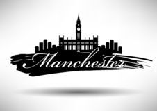 Manchester Skyline with Typography Design royalty free illustration