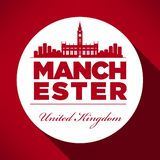 Manchester Skyline with Typography Design stock illustration
