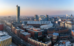 Manchester Skyline UK. View over Manchester city from high up royalty free stock photo