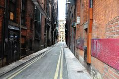 Manchester street. Backstreet in Manchester, United Kingdom of Great Britain Royalty Free Stock Photography