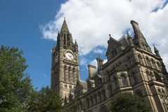 Manchester Town Hall. Grand building and clock tower of Manchester town hall Royalty Free Stock Photo
