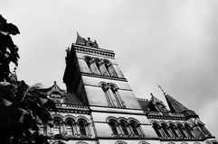 Manchester Town Hall 1. Black and white image of Manchester`s town hall with a tree to the left of frame Stock Photography