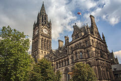 Manchester Town Hall. UK with cloudy sky royalty free stock photography