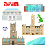 Manchester Travel Set with Architecture. Visit Great Britain royalty free illustration
