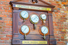 Manchester, UK - 04 April 2015 - Historic panel of Engine Builde Royalty Free Stock Photo